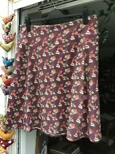 Weird Fish Skirt Size L Brown background with Pink, Cream and Purple Design