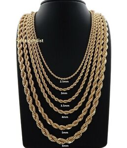 "Hip Hop Rope Chain Necklace 16"" 18"" 20"" 22"" 24"" 26"" 30"" inch 14K Gold Finish"