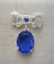 Vintage Royal Blue Glass & Diamante Bow Drop Brooch