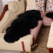 Hot Black Long Double One Pelt Sheepskin real Farm Lambskin Fleece soft Fur Rug