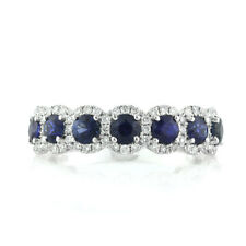 1.84 Cts Round Cut 7 Stone Blue Sapphire and Diamond Ring In 18k White Gold
