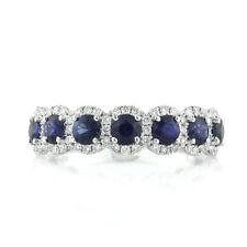 1.84 Cts Corte Redondo 7 Piedra Zafiro Azul y Diamante Anillo en 18Ct Oro Blanco