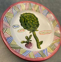 "Anthropologie Nathalie Lete Artichoke Francophile 10"" Ceramic Dinner Plate"