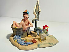 """Lowell Davis """"Chicken Thief"""" Man in tub, pump clothes rooster sculpture limited"""
