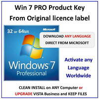 Win 7 PRO 32/64bit Key - For all Languages Worldwide + Microsoft D/load Links