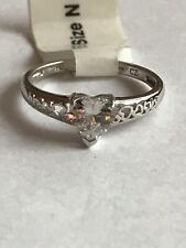 9ct White Gold Cz Heart Ring Size N
