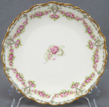 Bawo & Dotter Limoges Pink Roses Green Scrolls & Gold Gilt Plate C. 1900 - 1914