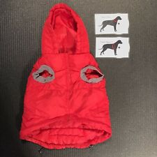 Large Red Hooded Dog Coat Jacket Hook & Loop w Bone Drawstring Waist Snap Pocket