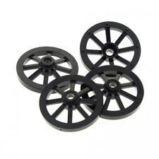 4 x Lego System Spoke Wheel Black 27 mm D.Cartwheel Small Castle Castle Carriage
