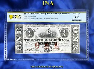 INA State of Louisiana $1 Printed Over Texas Dos (2) and Tres (3) Pesos PCGS-25