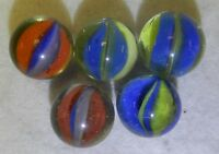 8554m Very Nice Group of 5 Cross Through Cat's Eye Marbles .61 to .63 inches