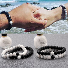 Charm Couple His & Hers Distance Bracelets Lava Bead Matching YinYang Jewelry