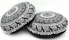2 PC Elephant Mandala Tapestry Round Floor Pillows Cotton Indian Ottoman Seating