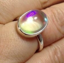 mystic angel aura solid Sterling Silver oval Ring, UK Size N, new, UK seller.