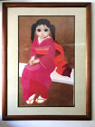 """Vtg 1970s 80s Margaret Keane Big Eyes """"Japanese Girl"""" Giclée Fine Art Print 43""""h"""