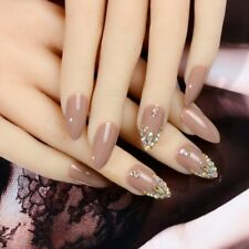 Stiletto False Nail Art DIY Shiny Press On Nails Coffee Color With Bling Crystal