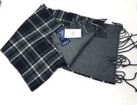 """CHAPS Men's Winter Plaid Reversible Scarf with Fringed Ends, Black / Gray, 60"""""""