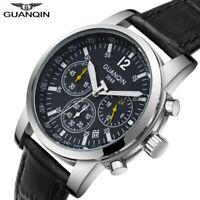 Chronograph Men's Wrist Watch Luxury Quartz Date with Luminous Dial Leather Band