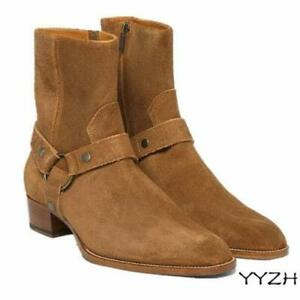 Mens Chic Side Zip Genuine Leather Suede Buckle Knight Ankle Boot Chelsea Shoes