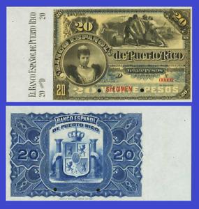 Puerto Rico 20 pesos 1894 UNC - Reproduction