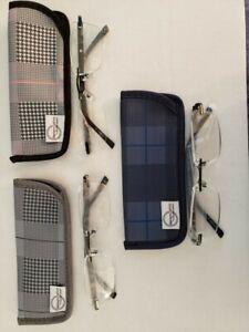 reading glasses, rimless, black frames, Foster Grant 1.75 3 pack w/ glass case