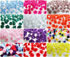 LOT 100 RIBBON BOW ROSE SATIN ARTIFICIAL CRAFT APPLIQUES EMBELLISH CUTE  WEDDING