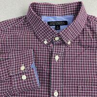 Banana Republic Button Up Shirt Mens L Purple Brown Soft Wash Tailored Slim Fit