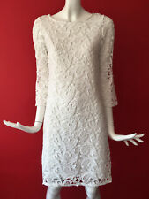 Wallis Vintage White Lace Crochet Guipure Flared Sleeve Party Dress UK 8 Petite