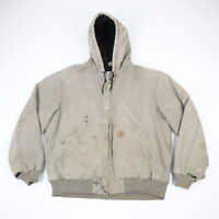 Destroyed Paint Distressed Faded Carhartt J130 Hooded Jacket Grunge Workwear L