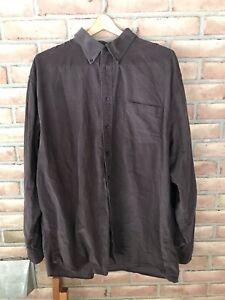 Lands End Men's Brown Corduroy Long Sleeve Button Front Shirt Size XXL/T
