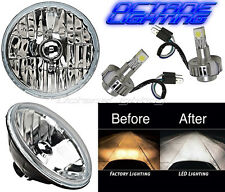 "7"" Crystal Glass/Metal Headlight CREE SMD COB 360° LED Light Bulb Headlamp Pair"
