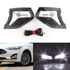 Pair LED Fog Light Cover Frame Harness For Ford Fusion 2019 Bumper Driving Lamp