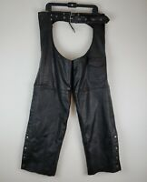 USA Dream Apparel Mens Black Leather Motorcycle Riding Chaps XXL