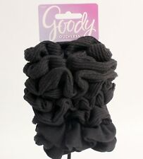 Goody Ouchless Black Hair Scrunchies Waffle Fabric 8 Pack NEW