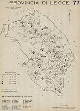 Provincia Lecce: Tutti i Comuni nel 1938,Carta Topografica.Anno XVI Era Fascista