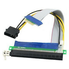 PCI-E PCI-Express x1 To x16 Riser Card Extension Adapter Cable w/ Molex Power