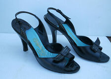 Vintage 1950s 60's bombshell Carmelletes Black Slingback High Heels Shoes 6 M