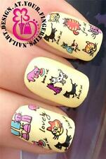 NAIL ART WATER TRANSFERS STICKERS DECALS DECO SET CUTE & FUNNY CARTOON CATS #406