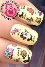 NAIL Art Water Trasferimenti Adesivi decalcomanie Deco Set Carino & Divertente Cartoon Cats #406