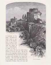 Istanbul Konstantinopel Stadtmauer HOLZSTICH um 1880 Rumeli Hisarı