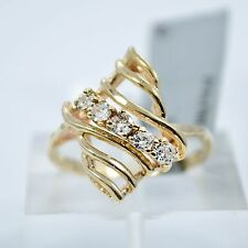 Diamond Cluster Cocktail Ring 14K Yellow Gold 0.25Ct Genuine G-color SIZE 5.75