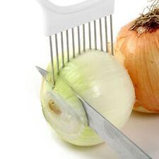Kitchen Onion Slicer Cut  Holder Fork Tomato Vegetable Slicer Cutting Aid White