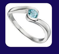 Blue Topaz Solitaire Ring Sterling Silver Twist Design 925 Hallmark Real Stone