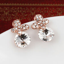 Classic 18k Rose Gold Filled Clear Cubic Zirconia Crystal Butterfly Earrings