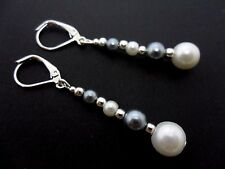 A PAIR OF GREY/WHITE PEARL BEAD LEVERBACK HOOK EARRINGS. NEW.