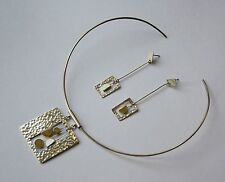 ECUADORIAN HAND CRAFTED STERLING SILVER MOTHER OF PEARL EARRING & CHOKER SET