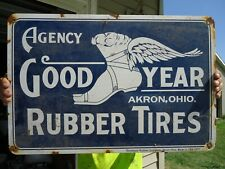 LARGE OLD VINTAGE 1917 GOODYEAR RUBBER TIRES PORCELAIN ADVERTISING SIGN AKRON OH