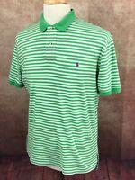 Polo Ralph Lauren Short Sleeve Interlock 100% Cotton Green Stripe Shirt Men's M