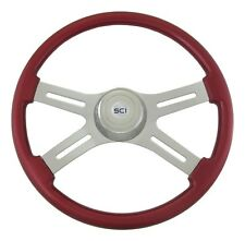 "18"" Heavy Duty Truck 4-Spoke Red Wood Steering Wheel - Fits most FL PB KW + more"
