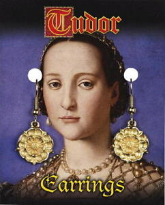 A Pair Of Tudor Gold Plated Rose Earrings